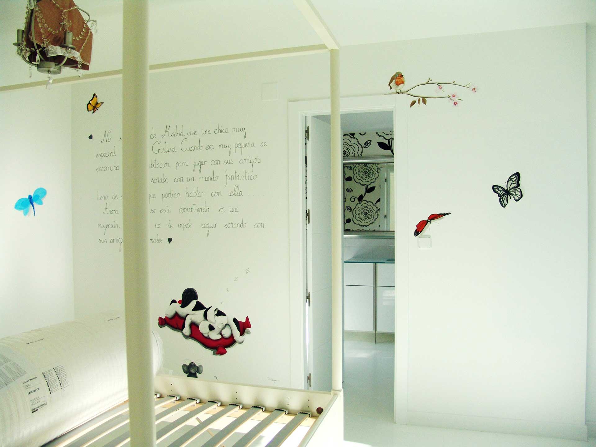 Mural infantil cuento en la pared por Paula Mnguez